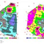 Карта удельных электрических сопротивлений, отождествленных с приповерхностными (а)  и терригенно-карбонатными (б) отложениями 1-  граница распространения ПЦТ