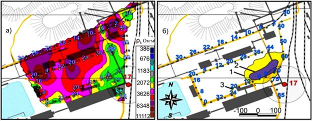 Map of apparent resistivity (a) obtained from the measurements of industrial electromagnetic field in October 2006 for the 9 months prior to the formation of one of the failures (b) (August 2007)